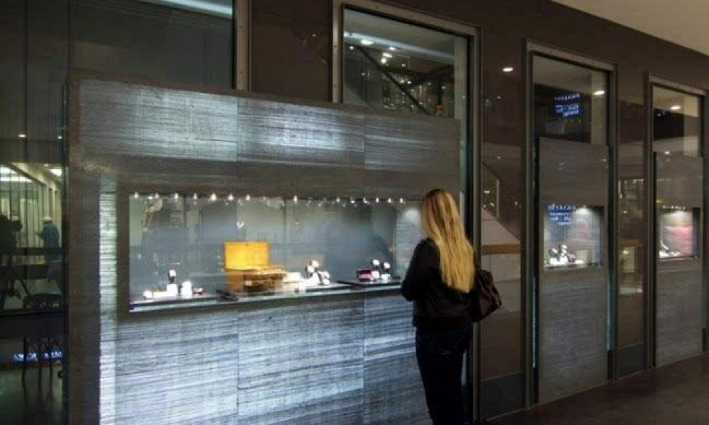 Illuminated and transparent Concrete Panel Materials for Wall and Retail Display