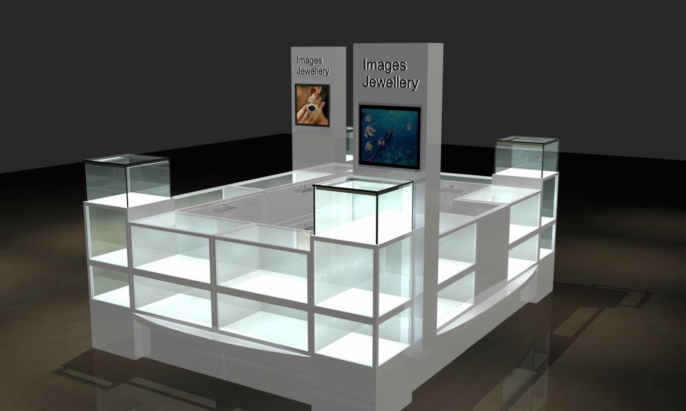 Modern Glass Jewelry Mall Kiosk Design