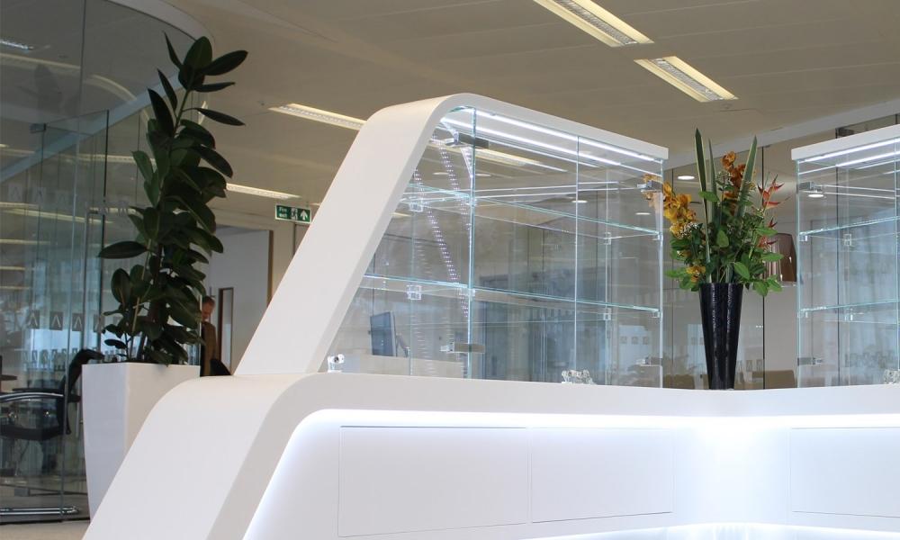 Bespoke Corian Made Trophy Glass Display Cabinet