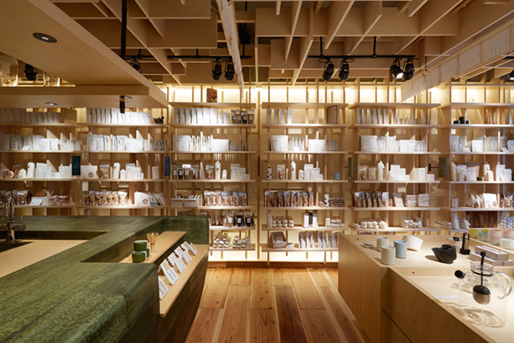 tea long wall display shelf with ceiling spotlights