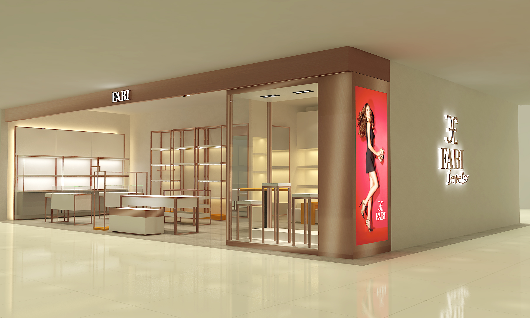 FABI Jewels Shops is brass pipeline style retail project, which is very popular for clothing & handbag shops.