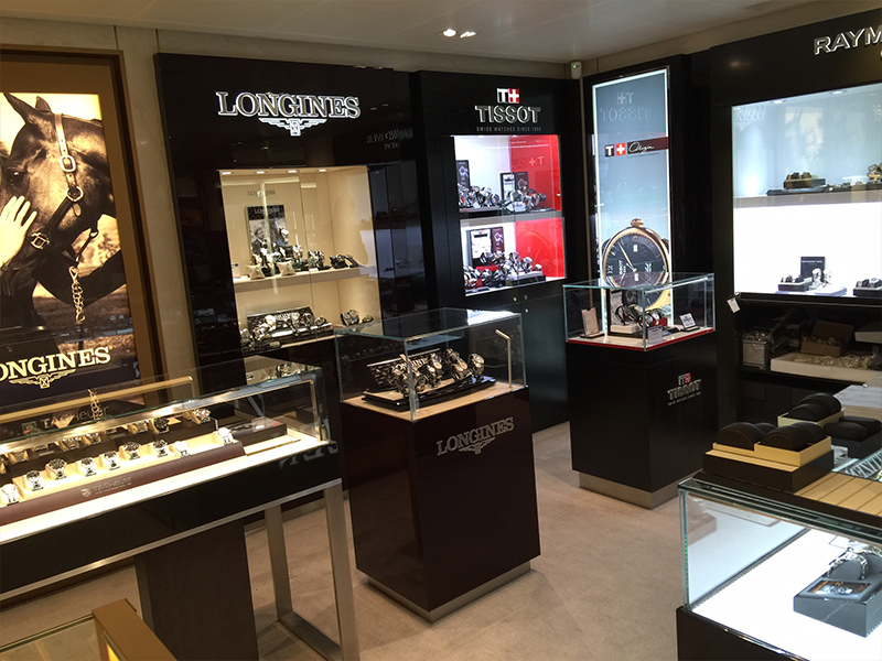 Longines watch shop wall display cabinet