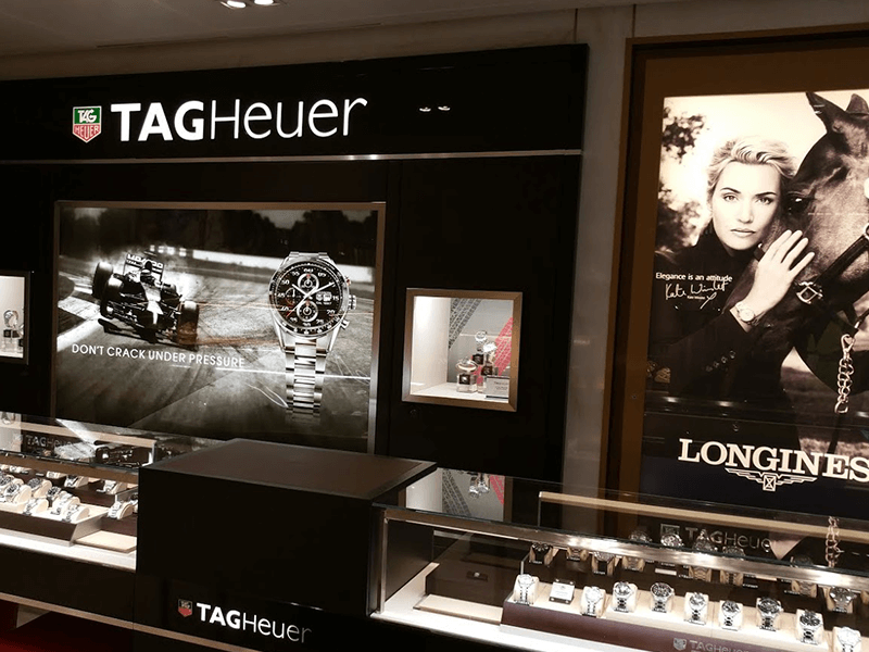 Tag heuer watch wall bay with light box