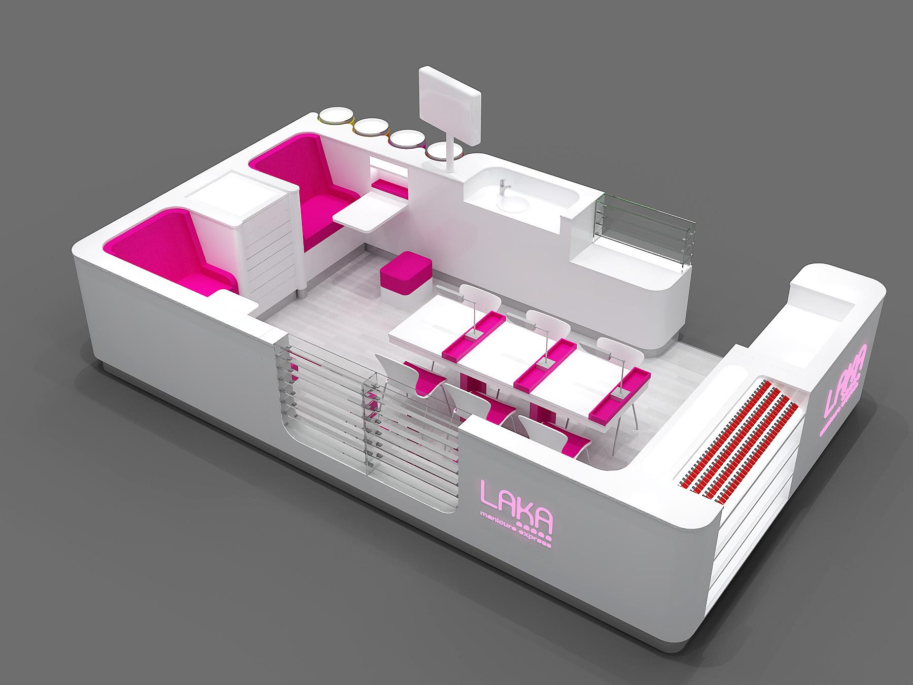 classical pink white laka nail express kiosk