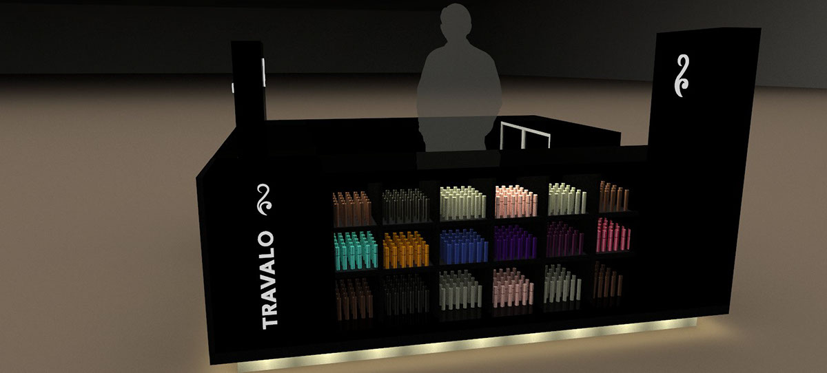black paint TRAVALO Perfume Kiosk for retail shop