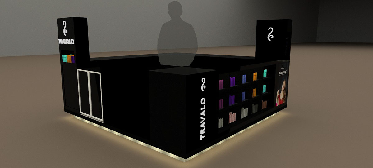 illuminated TRAVALO Perfume Kiosk with Channel letters