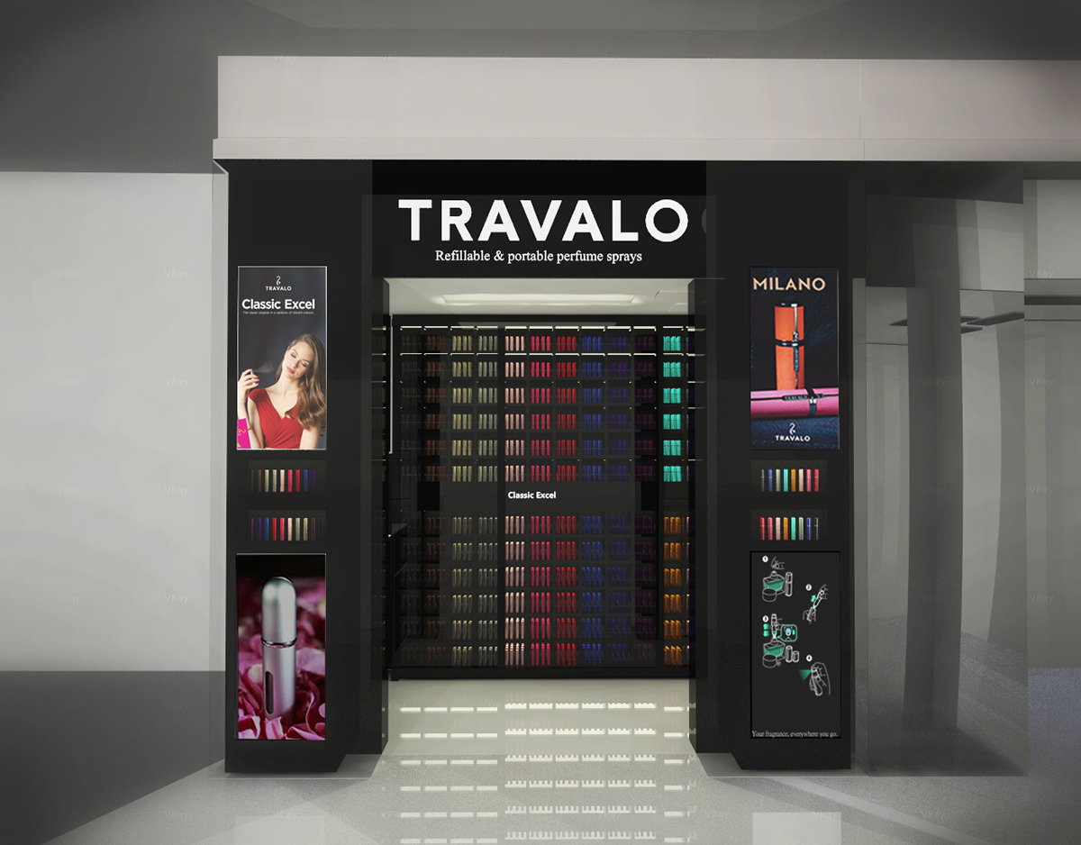 black paint TRAVALO Perfume Retail Shop Design