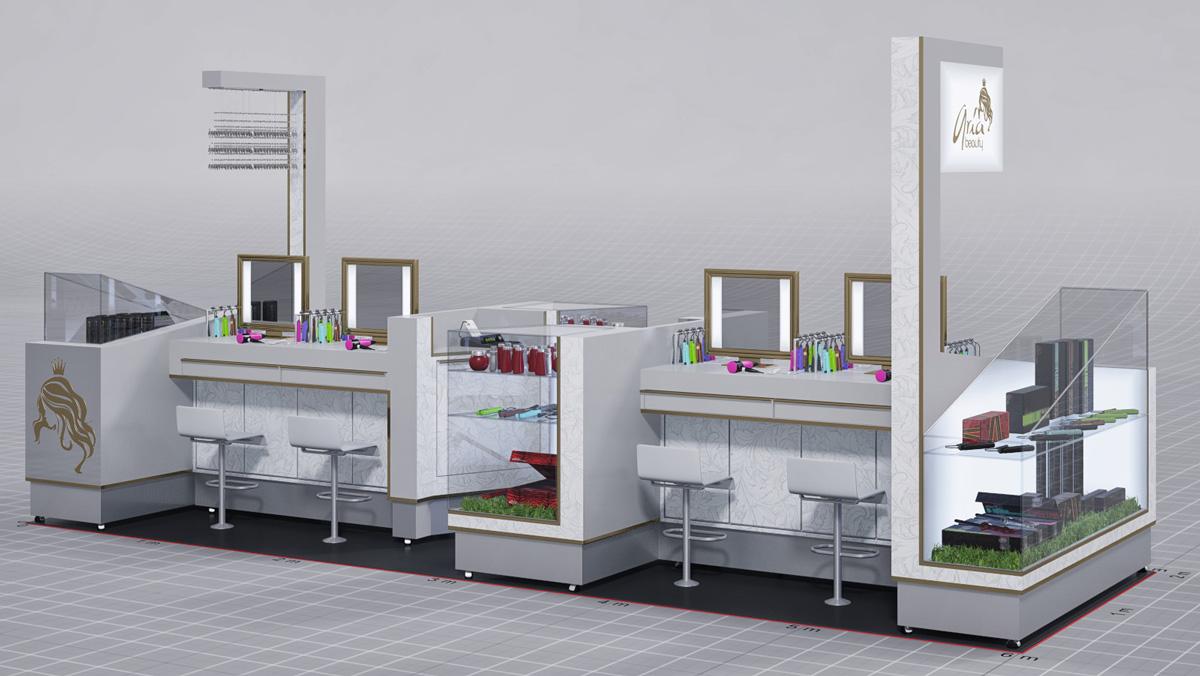design aria beauty hair mall kiosk