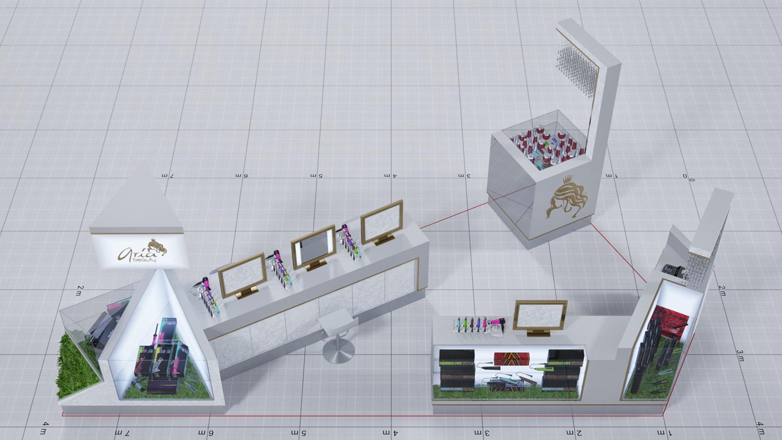 aria beauty mall kiosk 3D drawing