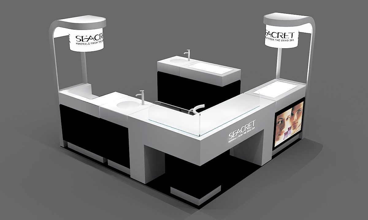 Seacret skin care mall kiosk design
