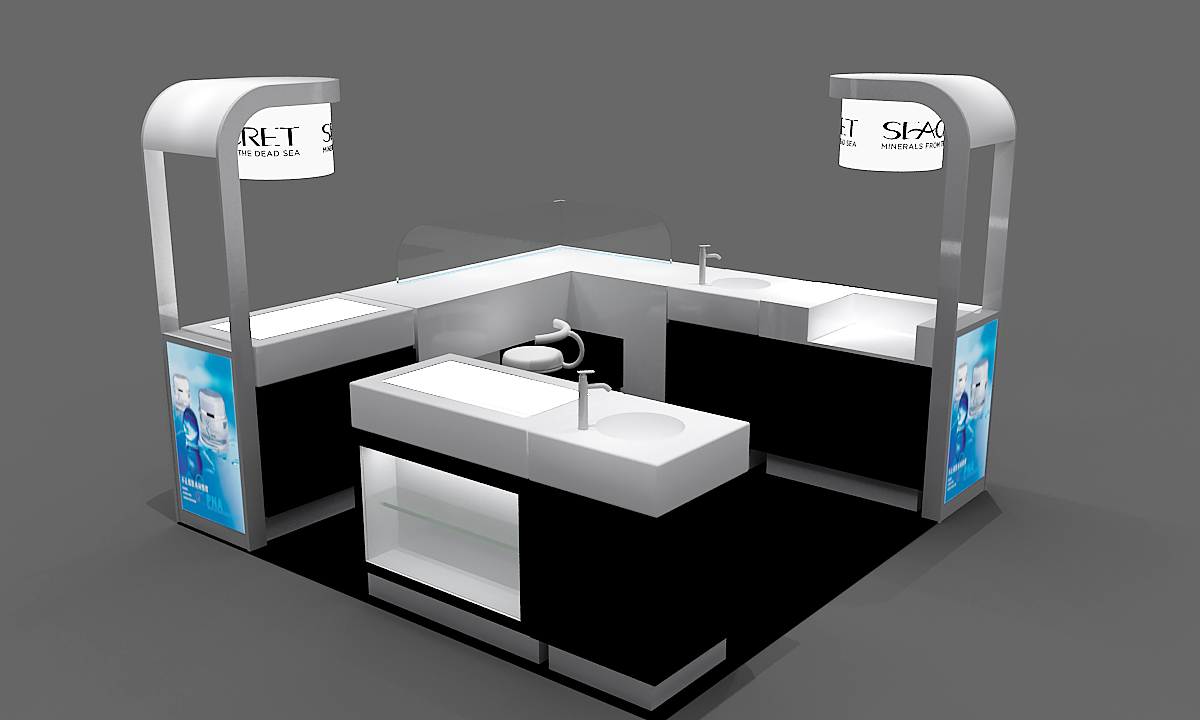 black white design seacret mall shop 3D drawing