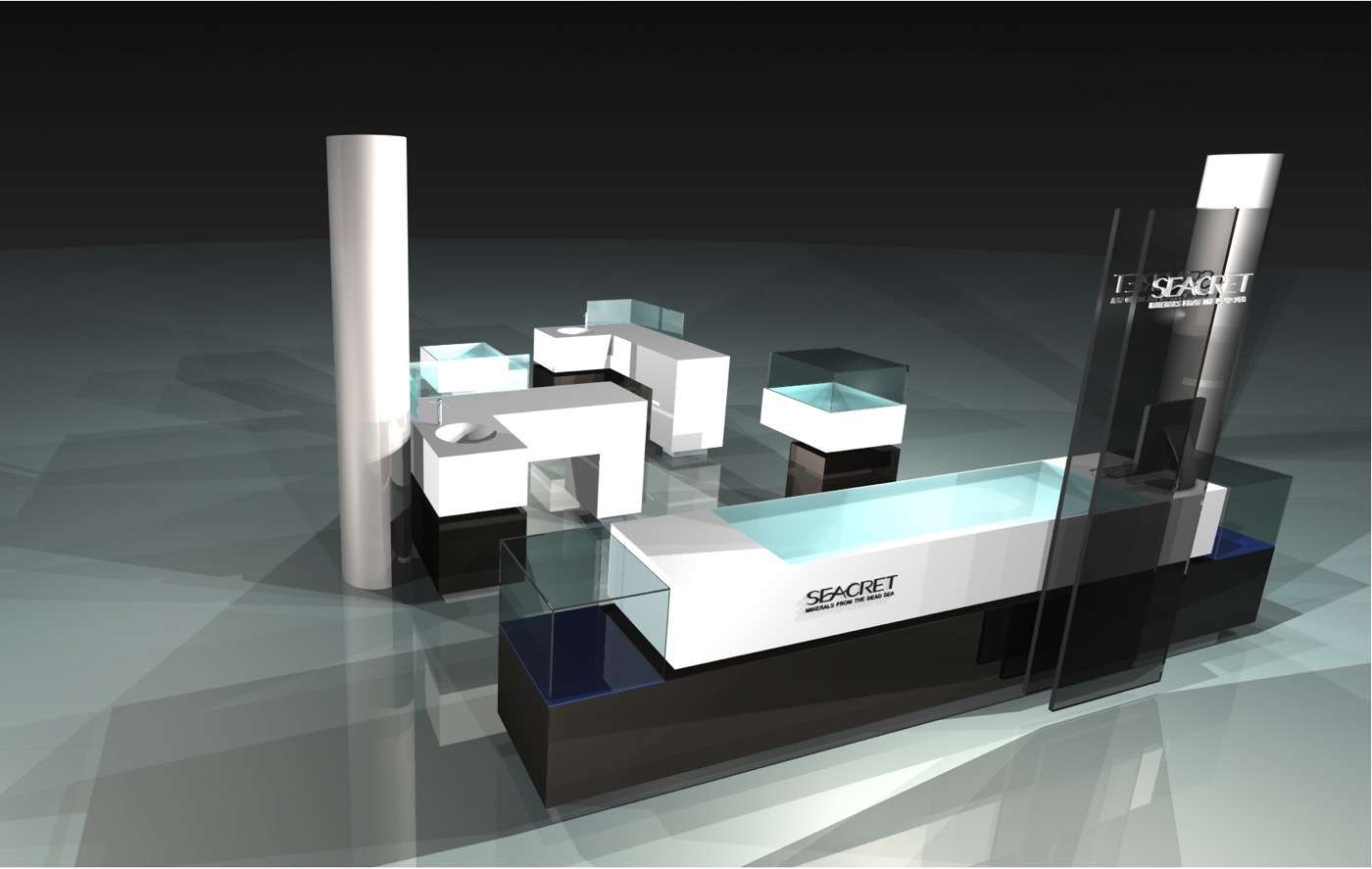 3d drawing seacret mall kiosk display units