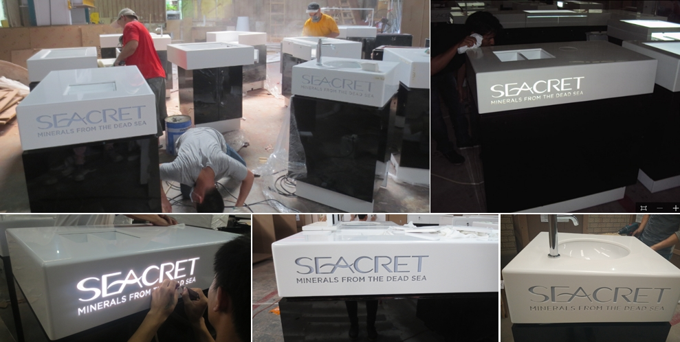 manufacture corian seacret mall kiosk from dead sea