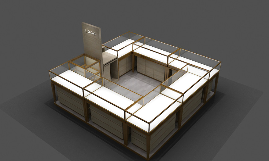 glass floor display units for jewelry shop