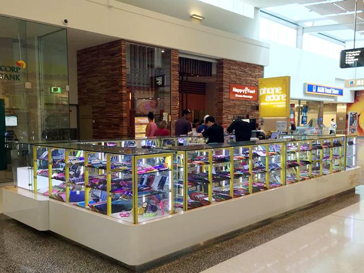 glass illuminated linear phone mana mall kiosk