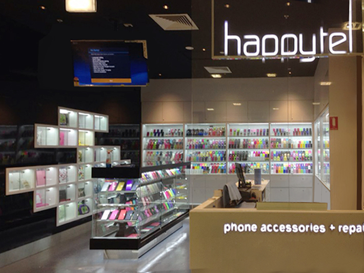 glass phone accessories retail shop for happytel