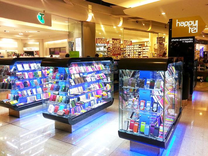 glass phone accessories display kiosk for happytel