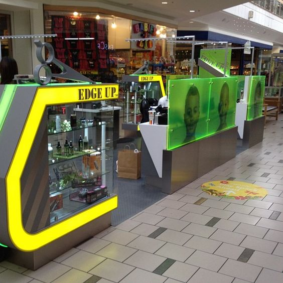 UV Printing image on the acrylic wall for haircut mall kiosk
