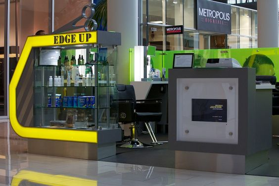 EDGE UP Haircut Glass Display Counter with illuminated Line