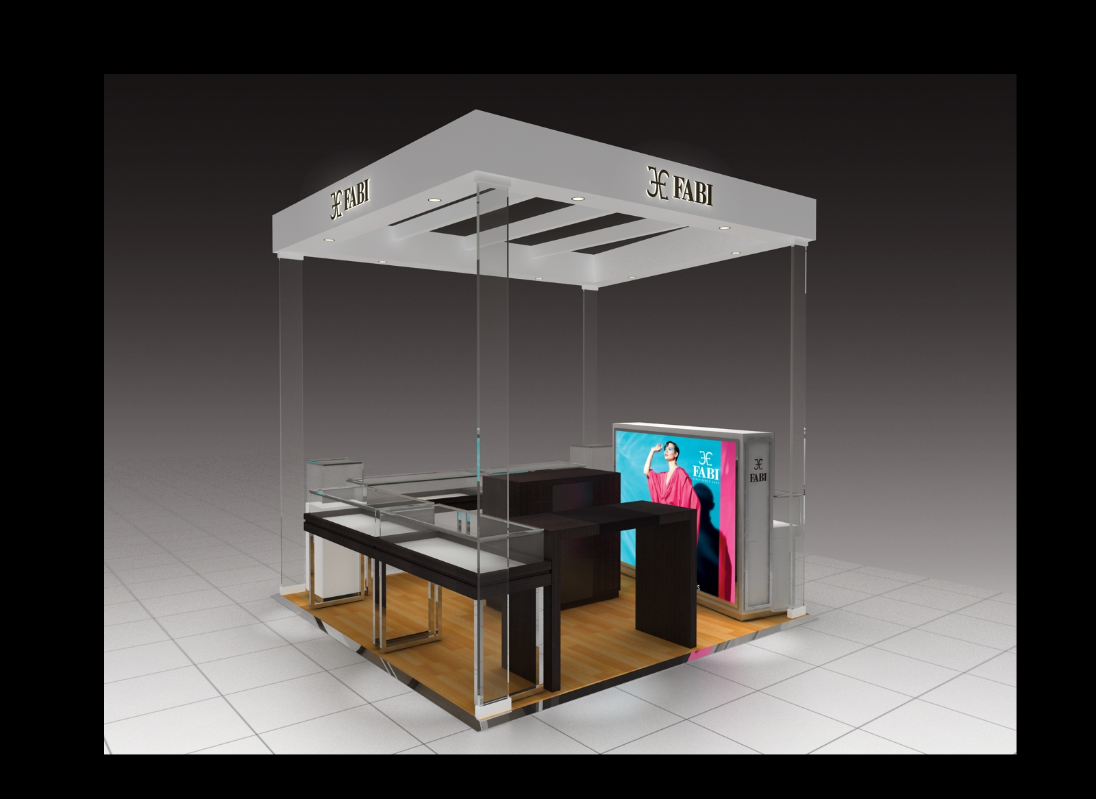 FABI Jewellery Kiosk below is a good expamle with 4 double tempered glass pillar to suppor the kiosk lighting ceiling