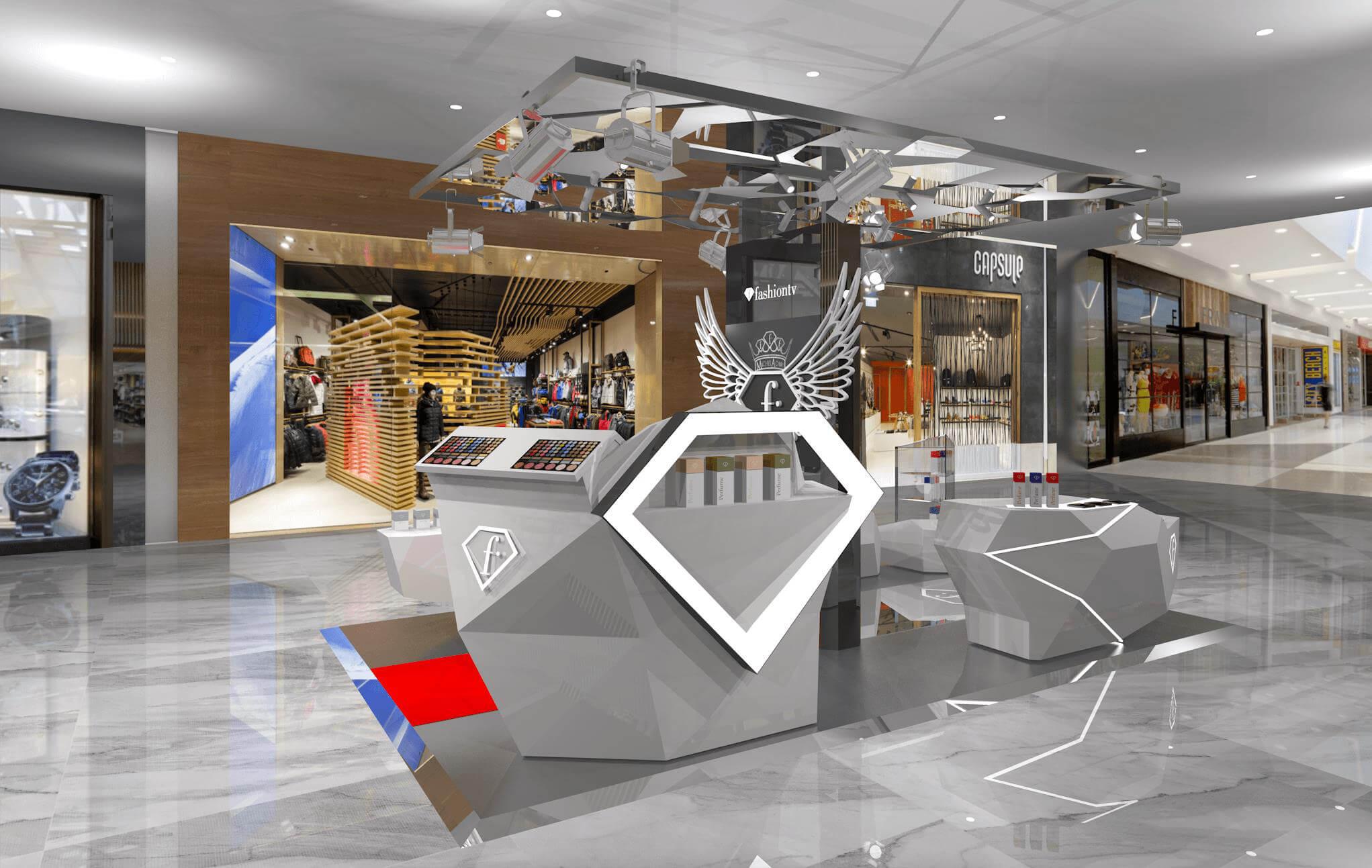 manufacture FTV Cosmetic Mall Kiosk design