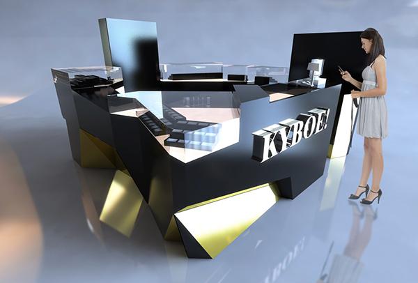 artfully designed irregularity Kybox watch display mall kiosk