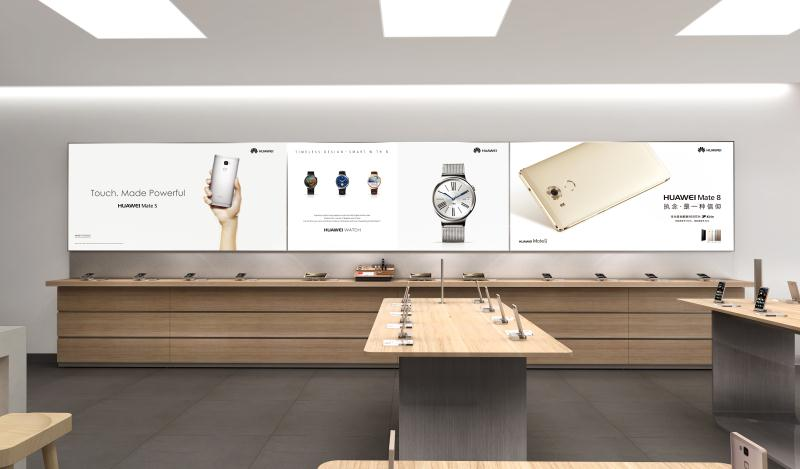 Big lightbox wall display cabinets for HUAWEI Phone Retail Shop