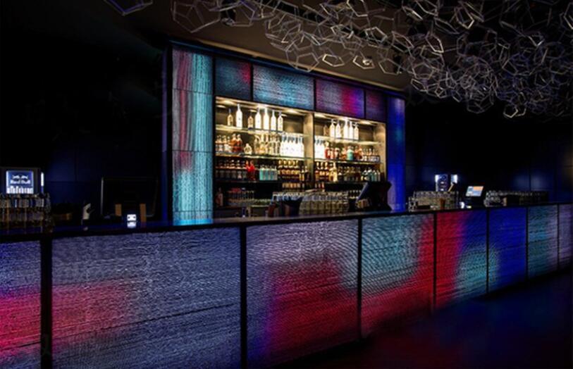 illuminated concrete made reception bar