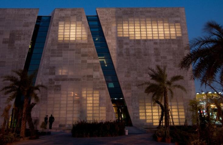 illuminated concrete building