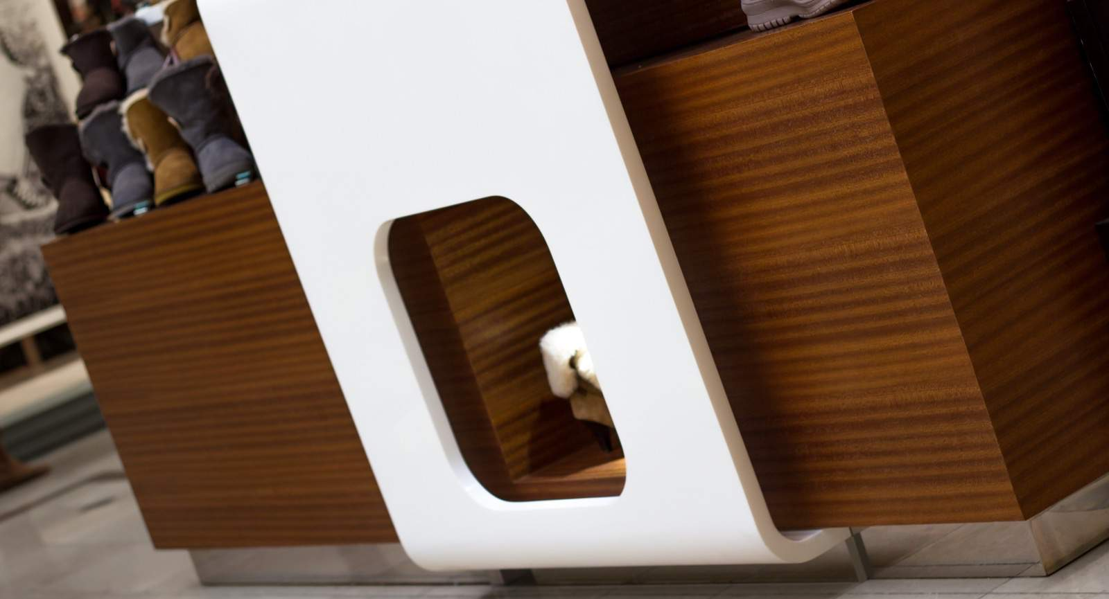 corian made Lamb's Care shoes Kiosk