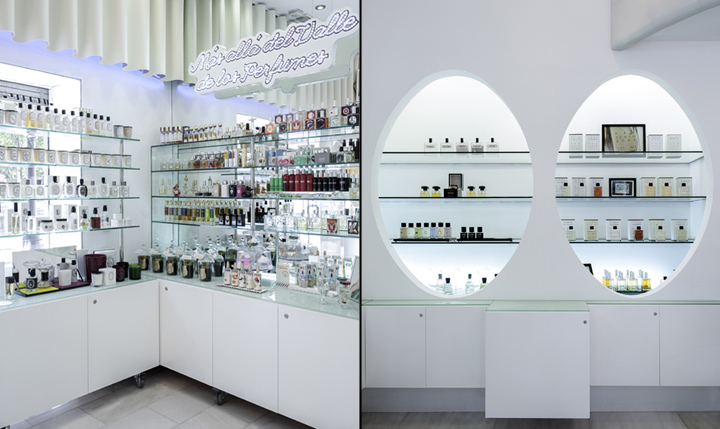 arc display shelf area and glass wall display cabinets with LED.