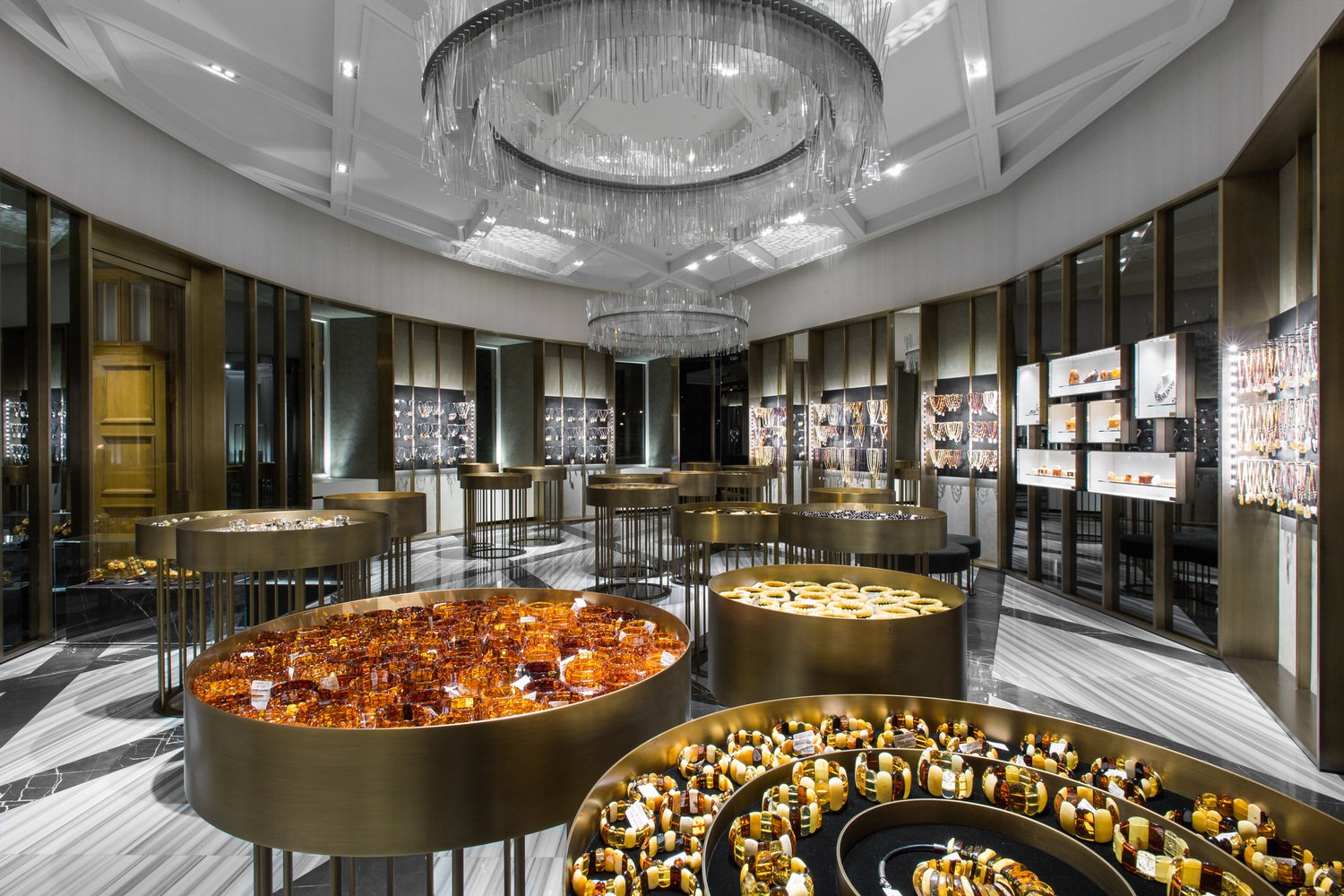round Gold display counter for the Jewelry shop