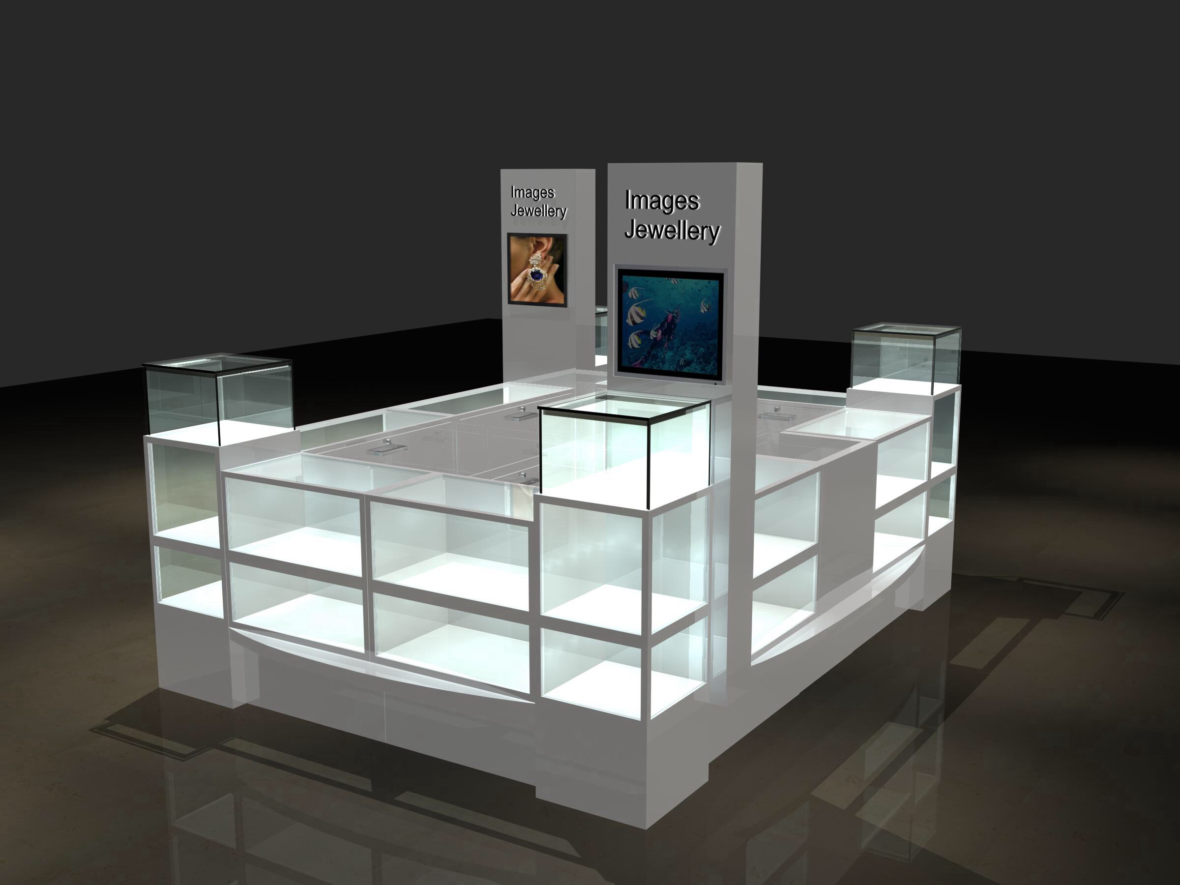 Modern Glass Jewelry Mall Kiosk Design M2display Com
