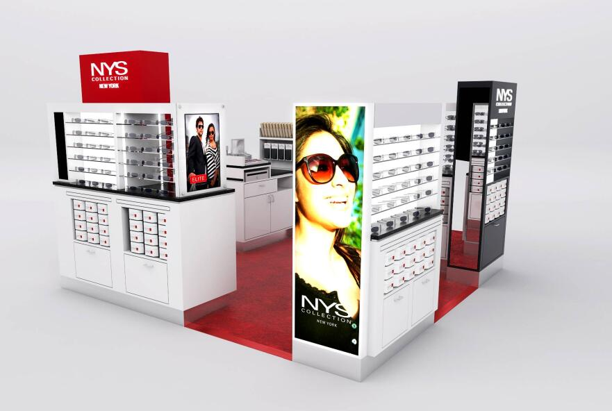 This is classical NYS mall kiosk, red and black theme