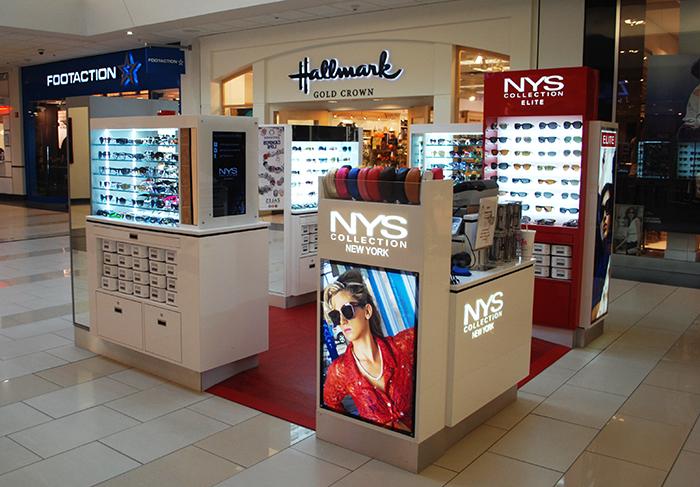 NYS COLLECTION NEW YORK mall kiosks.