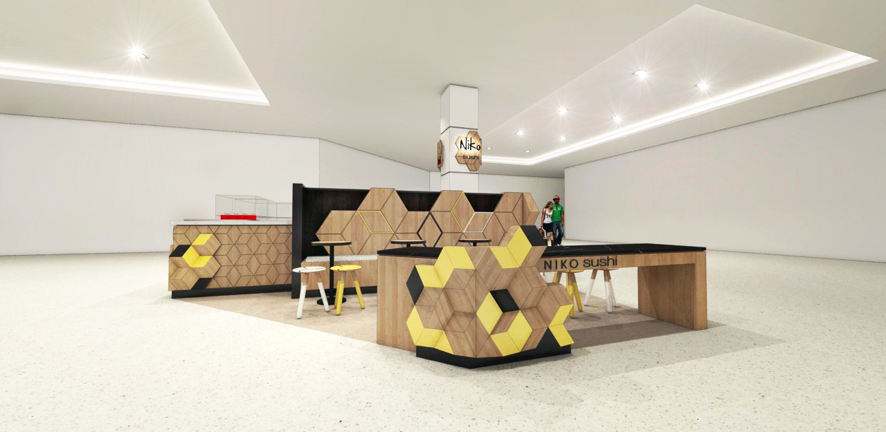 wooden food kiosk with seating
