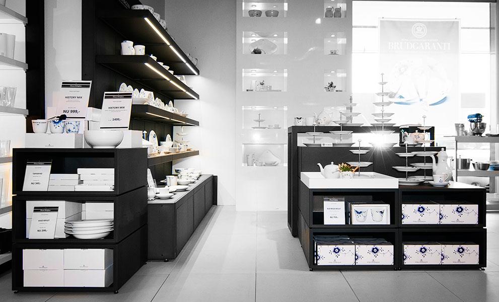 Royal Copenhagen porcelain wall display shelf design with LED
