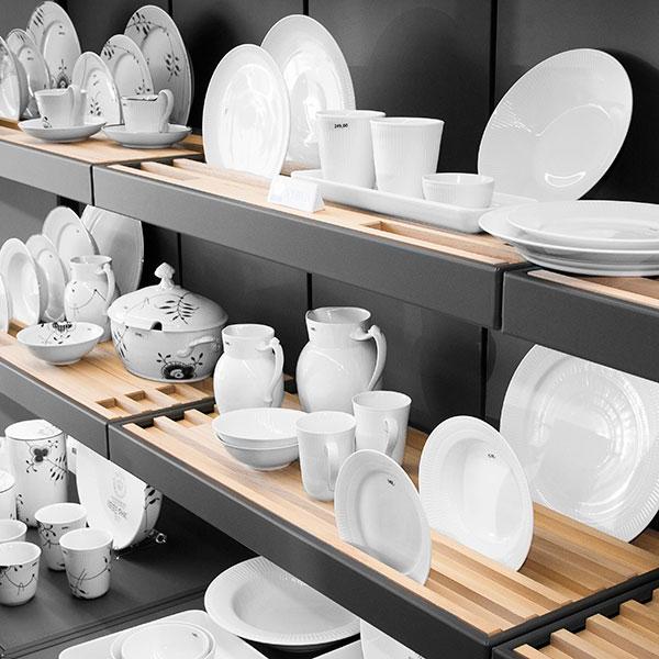 solid wood made porcelain shelf display units