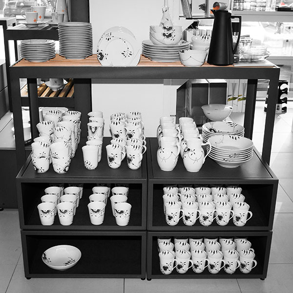 metal and wood display cube for porcelain shop