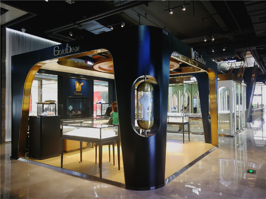 matte black and Brass finish Jewellery mall kiosk with ceiling