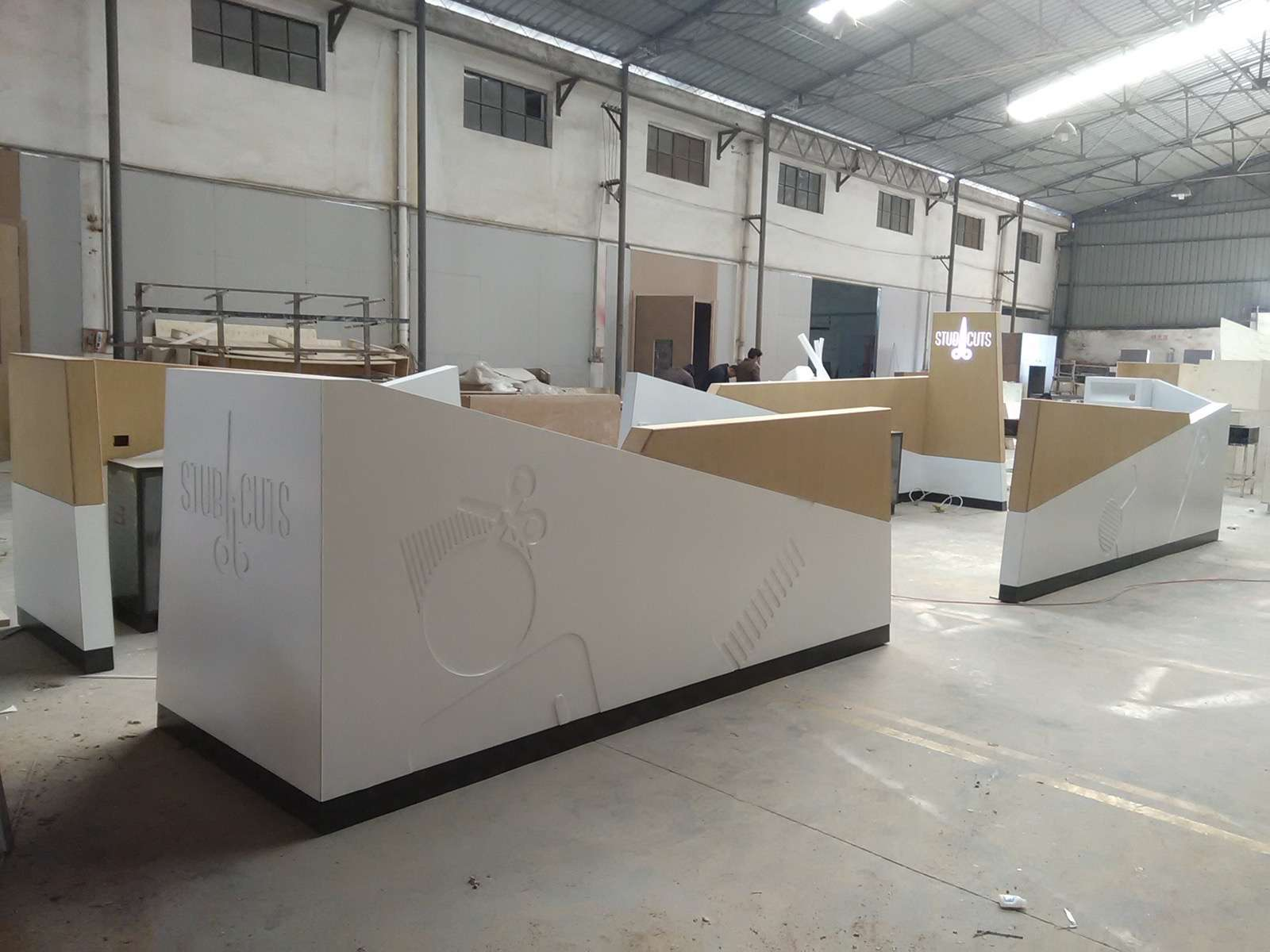 corian made hair beauty mall kiosk