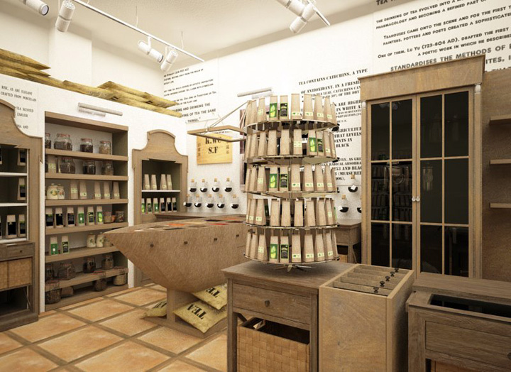 Thickness display shelves for tea retail shops