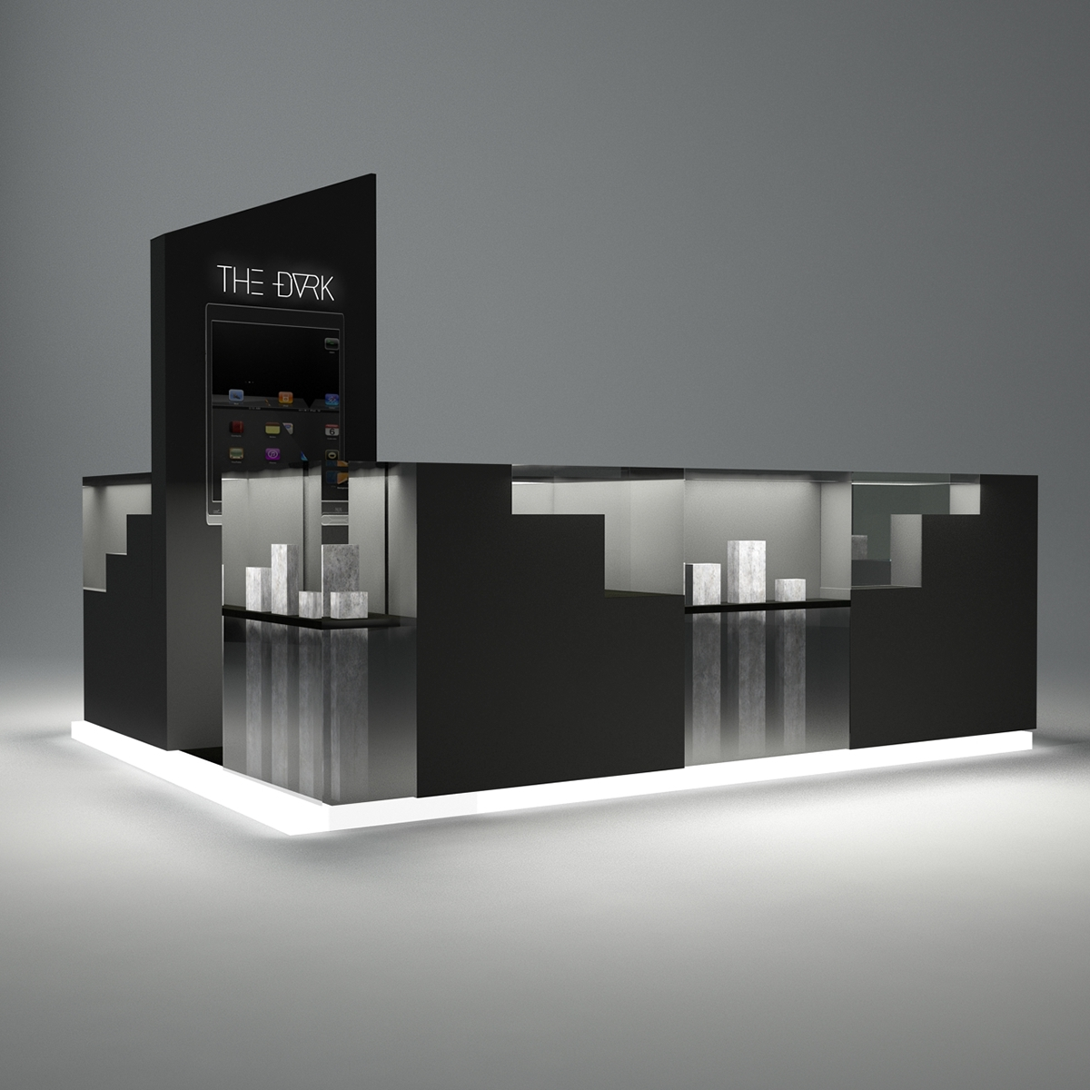 pure black corian watch mall kiosk