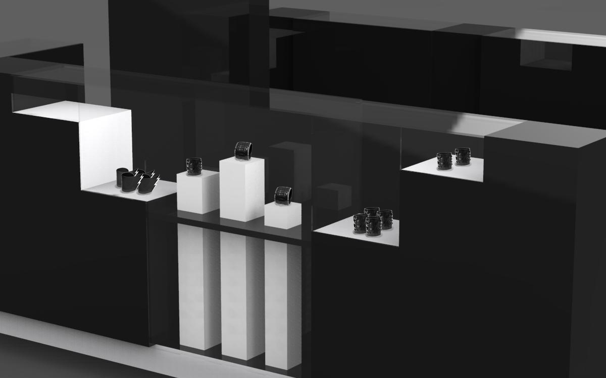 The dark watch mall kiosk design, a step feeling with Normcore style