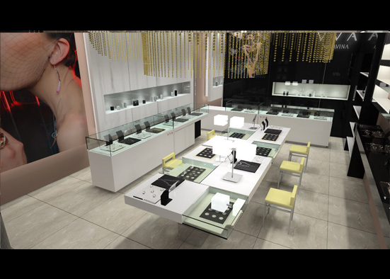 The middle Jewellery experience display table are a little featured.