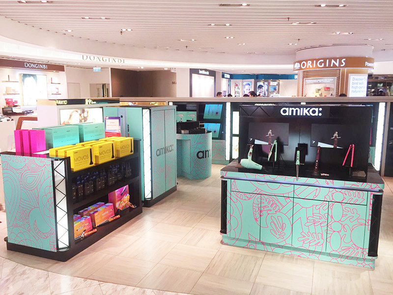 amika hair floor display units with LED