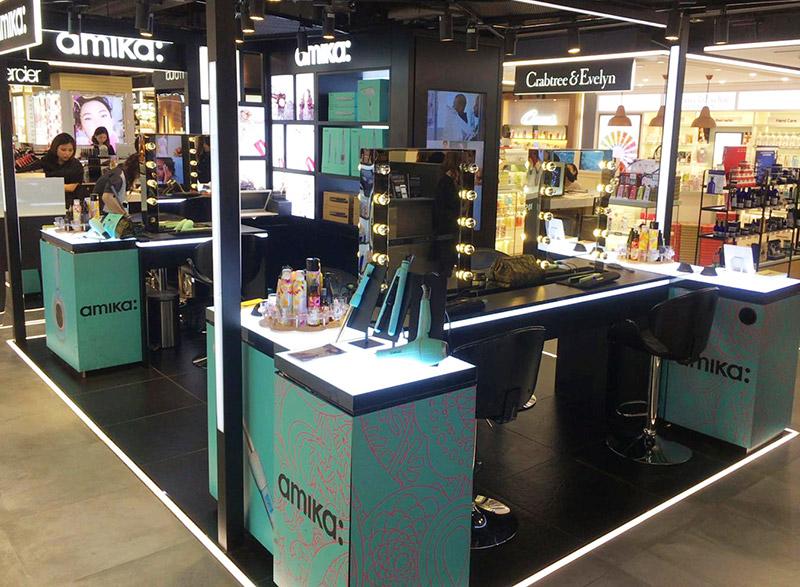 linear lit hair beauty mall kiosk