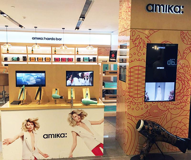 amika hair floor display counter